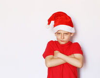 Portrait of a  boy dressed as Santa Royalty Free Stock Photography