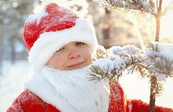 Portrait of boy dressed as Santa Stock Image