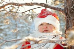 Portrait of boy dressed as Santa Royalty Free Stock Photos