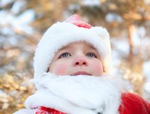 Portrait of boy dressed as Santa Royalty Free Stock Images