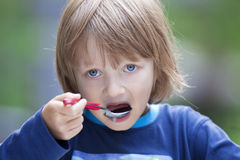 Portrait of a Boy Eating Stock Images