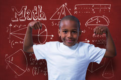 Composite image of portrait of boy flexing muscles Stock Photography