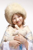 Portrait of a Boy with Fluffy Hat and Stuffed Animal Royalty Free Stock Images