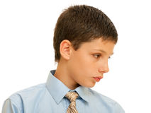 Portrait of a boy in formal shirt with tie Stock Photo