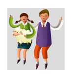 Portrait of boy and gir. L holding with sheep in lap Royalty Free Stock Photos