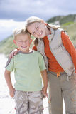 Portrait of boy and girl at beach Stock Image