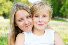 Portrait of boy and girl close-up Stock Photo