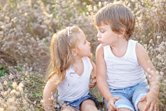 Portrait of a boy and girl on the field Royalty Free Stock Images