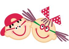 Portrait of boy and girl, happy kids, vector funny illustration. Colored image. Girl with bow and boy with cap Stock Image