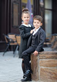 Portrait of a boy and a girl Stock Photos