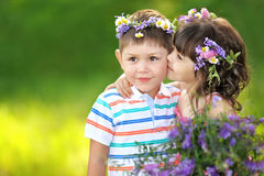 Portrait of a boy and girl royalty free stock photo