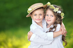Portrait of a boy and girl Stock Photos