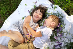 Portrait of a boy and girl Stock Image