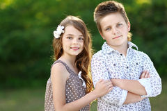 Portrait of a boy girl Royalty Free Stock Photography