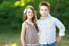 Portrait of a boy girl Royalty Free Stock Image
