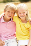 Portrait Of Boy And Girl In Summer Harvested Field Royalty Free Stock Photo