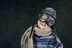 Portrait of a boy in goggles on a winter walk Stock Photo