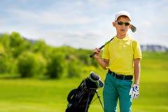 Portrait of boy golfer Stock Photos