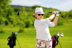 Portrait of boy golfer Stock Image