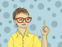 Portrait of a boy with a good idea. Child in sunglasses Royalty Free Stock Images