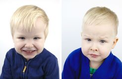 Portrait of a boy before and after the haircut. Child after visiting the hairdresser royalty free stock photography