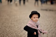 Portrait of a boy in a hat Stock Photos