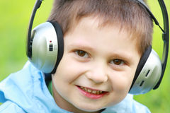 Portrait of boy in headphones Royalty Free Stock Photography
