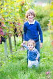Portrait of boy with his baby sister in vine yard. Portrait of a happy laughing boy playing with his baby sister running together in a beautiful sunny autumn Stock Image