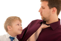 Portrait of a boy and his father royalty free stock photography