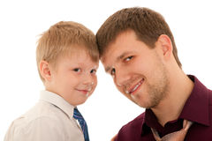 Portrait of a boy with his father royalty free stock photo