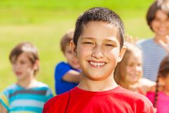 Portrait of boy and his friends Stock Images