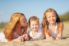 Portrait of a boy and his two sisters Royalty Free Stock Photos