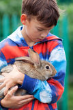 Portrait of boy, he is holding rabbit Royalty Free Stock Photography
