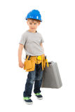 Portrait Of Boy Holding Toolbox royalty free stock images