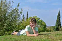 Portrait of a boy on holiday Royalty Free Stock Image