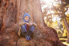 Portrait of boy hugging knees while sitting on tree trunk. At park Royalty Free Stock Photo