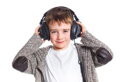 Portrait of boy listening to music Royalty Free Stock Photography
