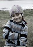 Portrait of a Boy. Little Boy on a Rock Royalty Free Stock Photography