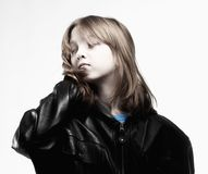 Boy with Long Blond Hair Stock Photography