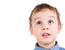 Portrait of boy looking up Stock Images