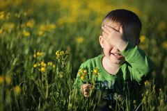 Portrait of a boy on the meadow. Boy on meadow, closes his eyes from the bright sun royalty free stock photo