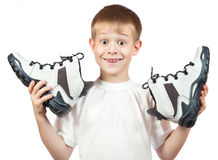 Portrait of a boy with a new white shoes Royalty Free Stock Photos