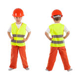 Portrait of boy in orange helmet, isolation Royalty Free Stock Photography