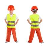 Portrait of boy in orange helmet, isolation Royalty Free Stock Photography