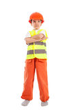 Portrait of boy in orange helmet, isolation Royalty Free Stock Photos