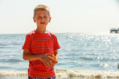 Portrait of boy outdoor in summer time. Royalty Free Stock Photography