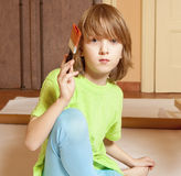 Portrait of a Boy Painting Royalty Free Stock Photography
