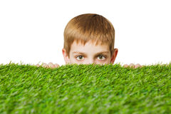 Portrait of a boy peeping out through grass. Portrait of a boy peeping out through fresh spring green grass close up royalty free stock image