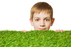 Portrait of a boy peeping out through grass. Portrait of a boy peeping out through fresh spring green grass close up stock photos