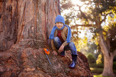 Portrait of boy with pinwheel while crouching on tree trunk Stock Photo